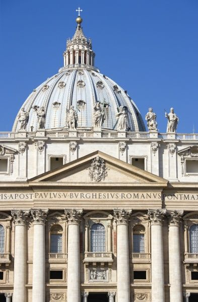 ITALY, Lazio, Rome, Vatican City The central facade and Dome of the Basilica church of Saint Peter